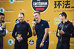 The Tour de France champions Christopher Froome (GBR), Marcel Kittel (GER) and Warren Barguil (FRA), on stage at the foot of the monumental Shanghai Oriental Pearl Tower, before the 2017 Tour de France Skoda Shanghai Criterium, Shanghai, China. 28th October 2017.<br /> Picture: ASO/Pauline Ballet | Cyclefile<br /> <br /> <br /> All photos usage must carry mandatory copyright credit (&copy; Cyclefile | ASO/Pauline Ballet)
