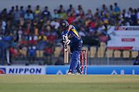 February 26th 2020, the Mahinda Rajapaksha International Stadium, Hambantota, Sri Lanka; One Day International cricket, Sri Lanka versus West Indies; Avishka Fernando plays a defensive shot