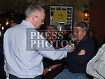 Gerry Kelly interviews John Gill at the Drogheda United meet and greet night in Mother Hughes's. Photo:Colin Bell/pressphotos.ie