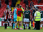 Jake Eastwood of Sheffield Utd hugs Jamal Blackman of Sheffield Utd during the English Championship League match at Bramall Lane Stadium, Sheffield. Picture date: August 5th 2017. Pic credit should read: Simon Bellis/Sportimage