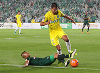 BOGOTA -COLOMBIA, 25-02-2017.Diego Alvarez (L)player of La Equidad fights the ball against of  Felipe Aguilar (R)  palyer of Atletico Nacional .Action game between  La Equidad and Atletico Nacional during match for the date 5 of the Aguila League I 2017 played at Ne stadium . Photo:VizzorImage / Felipe Caicedo  / Staff