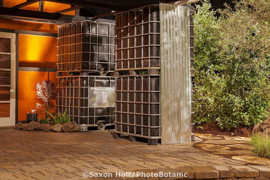 "Water storage cisterns in""No Water for this Garden"" exhibit garden by New Leaf Landscapes at San Francisco Flower & Garden Show 2014"