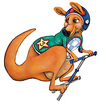 Illustration of kangaroo on pogo stick over white background