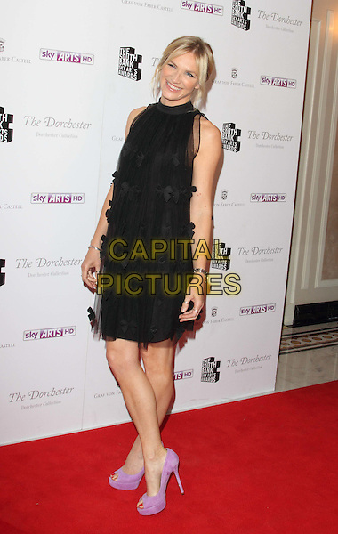 Jo Whiley.South Bank Sky Arts Awards at the Dorchester Hotel, Park Lane, London, England..May 1st 2012.full length black dress sheer tulle purple lilac shoes .CAP/ROS.©Steve Ross/Capital Pictures