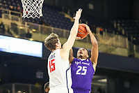 Washington, DC - December 22, 2018: Richmond Spiders forward Matt Grace (15) blocks High Point Panthers forward Ricky Madison (25) shot during the DC Hoops Fest between Hampton and Howard at  Entertainment and Sports Arena in Washington, DC.   (Photo by Elliott Brown/Media Images International)