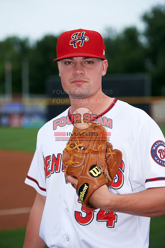 Harrisburg Senators relief pitcher Koda Glover (34) poses for a photo before a game against the New Hampshire Fisher Cats on June 2, 2016 at FNB Field in Harrisburg, Pennsylvania.  New Hampshire defeated Harrisburg 2-1.  (Mike Janes/Four Seam Images)