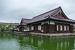 Photo shows the pond and main building of  Nishinkan in Aizuwakamatsu City, Fukushima Prefecture, Japan. Nishinkan was a school for the sons of the region's samurai. Photographer: Rob Gilhooly