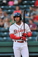 Second baseman Yoan Moncada (24) of the Greenville Drive in a game against the Greensboro Grasshoppers on Thursday, August 27, 2015, at Fluor Field at the West End in Greenville, South Carolina. The Cuban-born 19-year-old Red Sox signee has been ranked the No. 1 international prospect in baseball by Baseball America. Greenville won, 10-2. (Tom Priddy/Four Seam Images)