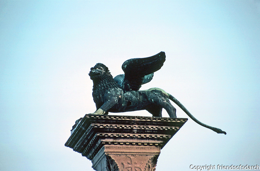 Venice:  Lion of St. Mark, Column in Piazzetta.  Photo '83.