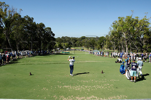 28.02.2016. Perth, Australia. ISPS HANDA Perth International Golf. Romain Wattel (FRA) tees off at the Par 3 12th during his last round.