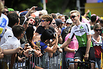 Julien Vermote (BEL) Team Dimension Data with fans at sign on before the start of Stage 15 of the 2018 Tour de France running 181.5km from Millau to Carcassonne, France. 22nd July 2018. <br /> Picture: ASO/Pauline Ballet | Cyclefile<br /> All photos usage must carry mandatory copyright credit (&copy; Cyclefile | ASO/Pauline Ballet)