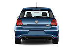 Straight rear view of 2016 Volkswagen Polo Blue-GT 5 Door Hatchback Rear View  stock images