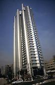 Sao Paulo, Brazil. Modern high rise glass and steel HSBC office building.