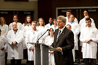 Prime Minister Harper visited the MaRS Centre on March 10, 2011 to announce continued support for cancer prevention, diagnosis, treatment and hope.<br /> <br /> After the announcement, he posed with employees of the Ontario Institute for Cancer Research (OICR) - a MaRS tenant.