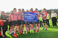 Lincoln City players celebrate after winning the league<br /> <br /> Photographer Chris Vaughan/CameraSport<br /> <br /> The EFL Sky Bet League Two - Lincoln City v Tranmere Rovers - Monday 22nd April 2019 - Sincil Bank - Lincoln<br /> <br /> World Copyright © 2019 CameraSport. All rights reserved. 43 Linden Ave. Countesthorpe. Leicester. England. LE8 5PG - Tel: +44 (0) 116 277 4147 - admin@camerasport.com - www.camerasport.com