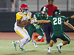 Torrance, CA 09/08/17 - \h21\, Saewon Chu (South #11) and Chris Carter (South #28) in action during the Hawthorne vs South Torrance CIF-SS non-conference Varsity football game at South Torrance High School.