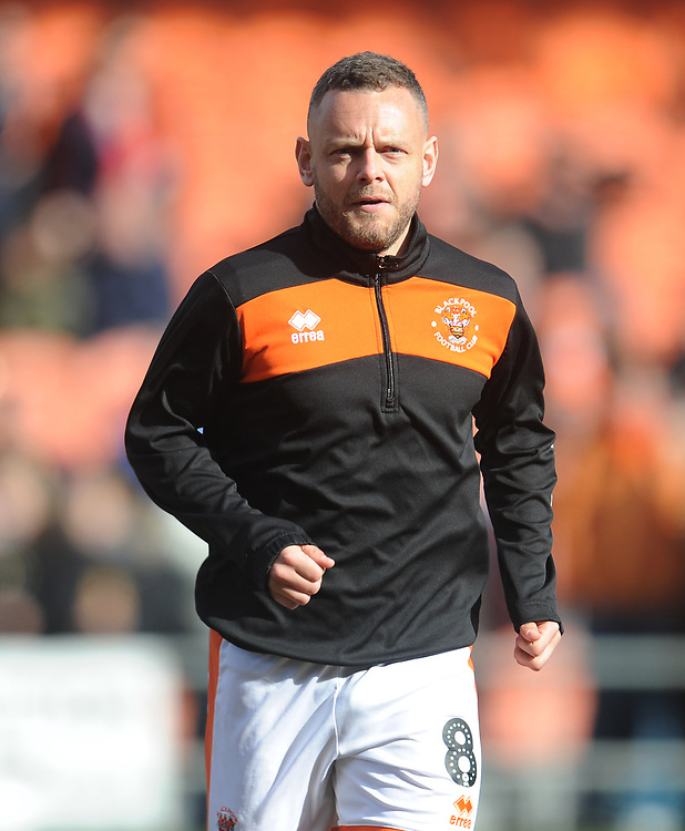 Blackpool's Jay Spearing during the pre-match warm-up <br /> <br /> Photographer Kevin Barnes/CameraSport<br /> <br /> The EFL Sky Bet League One - Blackpool v Southend United - Saturday 9th March 2019 - Bloomfield Road - Blackpool<br /> <br /> World Copyright © 2019 CameraSport. All rights reserved. 43 Linden Ave. Countesthorpe. Leicester. England. LE8 5PG - Tel: +44 (0) 116 277 4147 - admin@camerasport.com - www.camerasport.com