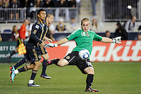 Goalkeeper Brad Knighton (18) of the Philadelphia Union. The Los Angeles Galaxy defeated the Philadelphia Union  1-0 during a Major League Soccer (MLS) match at PPL Park in Chester, PA, on October 07, 2010.