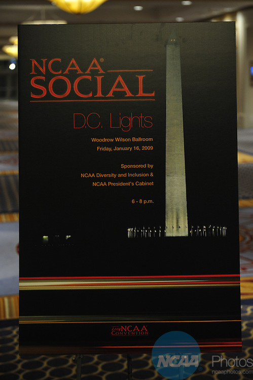 16 JAN 2009: The DC Lights Social at the 2009 NCAA Convention at the Gaylord National Resort and Convention Center in Washington D.C. Stephen Nowland/NCAA Photos
