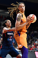 Washington, DC - July 30, 2019: Phoenix Mercury center Brittney Griner (42) makes a move to the basket guarded by Washington Mystics guard Kristi Toliver (20) during first half action of game between the Phoenix Mercury and Washington Mystics at the Entertainment & Sports Arena in Washington, DC. (Photo by Phil Peters/Media Images International)