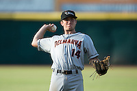 Delmarva Shorebirds third baseman Austin Anderson (14) warms up in the outfield prior to the game against the Hickory Crawdads at L.P. Frans Stadium on June 18, 2016 in Hickory, North Carolina.  The Shorebirds defeated the Crawdads 4-2 in game two of a double-header.  (Brian Westerholt/Four Seam Images)