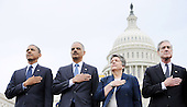 From L to R : United States President Barack Obama, U.S. Attorney General Eric Holder , U.S. Secretary of Homeland Security Janet Napolitano and Federal Bureau of Investigation (FBI) director Robert Muller attend the 32nd Annual National Peace Officers' Memorial Service at the West Front Lawn of the U.S. Capitol May 15, 2013 in Washington, DC. Obama attended the annual event to honor law enforcement who were killed in the line of duty in the previous year..Credit: Olivier Douliery / Pool via CNP