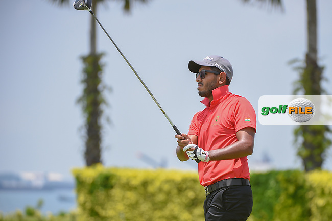 Yuvraj SANDHU (IND) watches his tee shot on 12 during Rd 1 of the Asia-Pacific Amateur Championship, Sentosa Golf Club, Singapore. 10/4/2018.<br /> Picture: Golffile | Ken Murray<br /> <br /> <br /> All photo usage must carry mandatory copyright credit (© Golffile | Ken Murray)