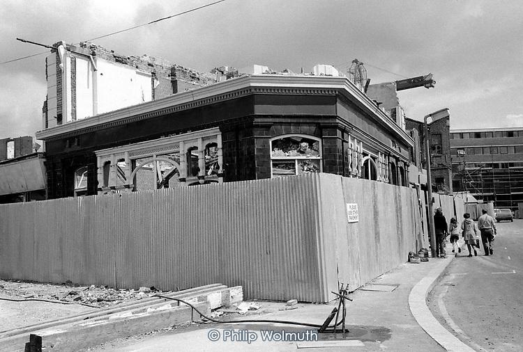 Demolition of the Beehive Pub, Walmer Road, North Kensington, now the site of Kensington Leisure Centre; 1975.