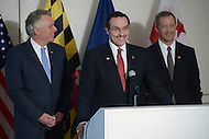 Arlington, VA - February 26, 2014: District of Columbia Mayor Vincent Gray speaks during a news conference following a regional meeting with Maryland Governor Martin O'Malley (r) and Virginia Governor Terry McAuliffe. (Photo by Don Baxter/Media Images International)
