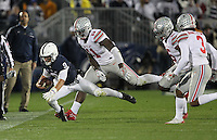 State College, PA - 10/22/2016:  Penn State QB Chase McSorley dives for extra yardage. McSorley rushed for 70 yards during the game and was 8-23 for 154 yards passing. Penn State upset #2 Ohio State by a score of 24-21 on Saturday, October 22, 2016, at Beaver Stadium in University Park, PA.<br /> <br /> Photos by Joe Rokita / JoeRokita.com