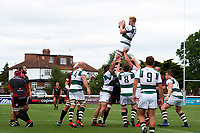 Tom Denton of Ealing Trailfinders wins the ball at a lineout. Pre-season friendly match, between Ealing Trailfinders and the Dragons on August 11, 2018 at the Trailfinders Sports Ground in London, England. Photo by: Patrick Khachfe / Onside Images