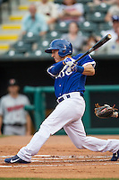 Oklahoma City Dodgers designated hitter Austin Barnes (3) swings the bat during the Pacific Coast League baseball game against the Nashville Sounds on June 12, 2015 at Chickasaw Bricktown Ballpark in Oklahoma City, Oklahoma. The Dodgers defeated the Sounds 11-7. (Andrew Woolley/Four Seam Images)