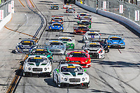 Heavy traffic at the start of the Pirelli World challenge race, Long Beach Grand Prix, Long Beach, CA, April 2015.  (Photo by Brian Cleary/ www.bcpix.com )