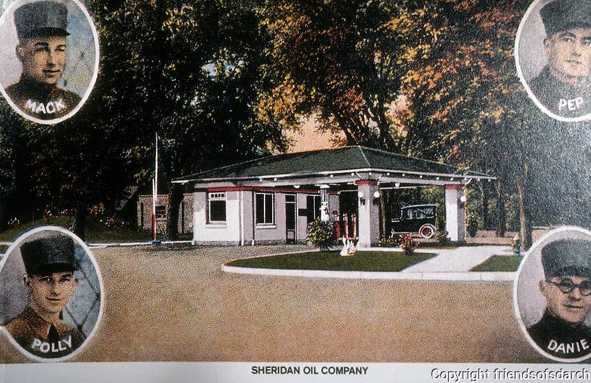 Filling Stations:  Sheridan Oil Co. Station, Creston Iowa. 1920. View c. 1923.  Demolished. Photo '89.
