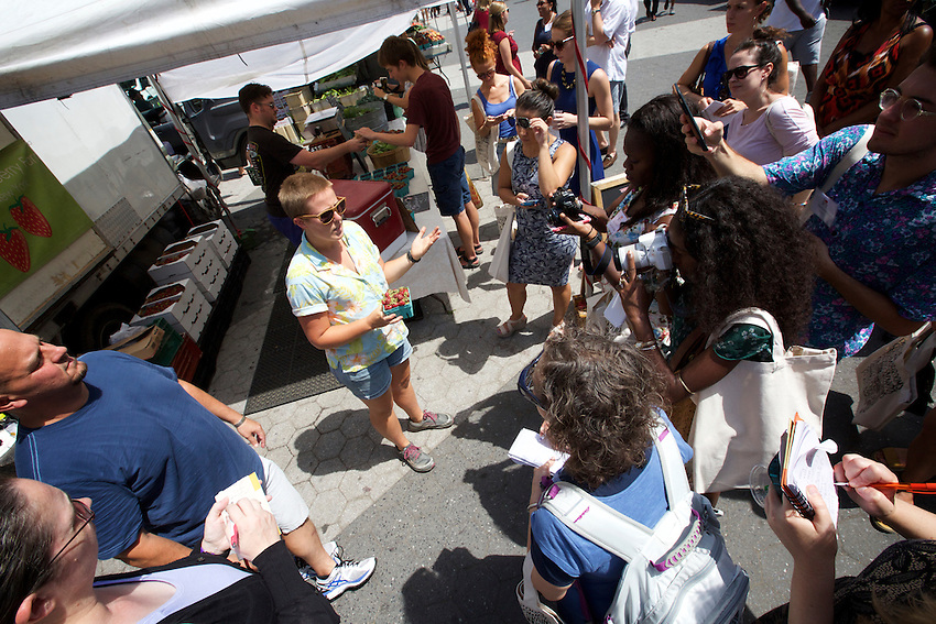 New York, NY - July 27, 2016: The New York #Eaaats Local media event, hosted by I Love New York, took guests on a tour of the Union Square Greenmarket, followed by lunch at The Pavilion at Union Square Market.<br /> <br /> CREDIT: Clay Williams.<br /> <br /> &copy; Clay Williams / claywilliamsphoto.com