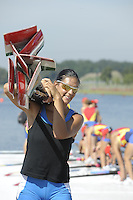Poznan, POLAND,   ITA W4X No. 2/ Gabriella BASCELLI, carries the blades, after  the quads training outing,  2009 FISA World Rowing Championships. held on the Malta Rowing lake, Friday  21/08/2009 [Mandatory Credit. Peter Spurrier/Intersport Images]