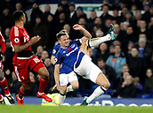5th November 2017, Goodison Park, Liverpool, England; EPL Premier League Football, Everton versus Watford; Phil Jagielka of Everton clears his lines as Andre Gray of Watford looks on