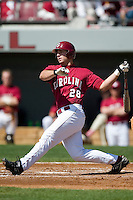 South Carolina right fielder Jon Willard (28) follows through on his swing versus LSU at Sarge Frye Stadium in Columbia, SC, Thursday, March 18, 2007.