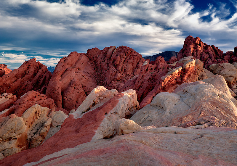 Colorful rocks and clouds. Valley of Fire State Park, Nevada