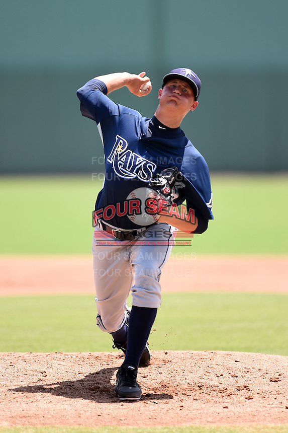 GCL Rays starting pitcher Cameron Varga (23) delivers a warmup pitch during a game against the GCL Red Sox on June 25, 2014 at JetBlue Park at Fenway South in Fort Myers, Florida.  GCL Red Sox defeated the GCL Rays 7-0.  (Mike Janes/Four Seam Images)