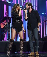 NASHVILLE, TN - JUNE 5: Karen Fairchild of Little Big Town and Thomas Rhett perform on the 2019 CMT Music Awards at Bridgestone Arena on June 5, 2019 in Nashville, Tennessee. (Photo by Frank Micelotta/PictureGroup)