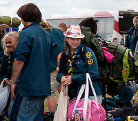 Just arrived tp the camp, happy. Photo: Malin Serner/SCOUTERNA