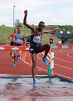 Yoann Kowal of France competing in the Men's 3000m Steeplechase during the Muller Grand Prix  IAAF Diamond League meeting at Alexander Stadium, Perry Barr, Birmingham.<br /> Picture by Alan Stanford +44 7915 056117<br /> 18/08/2018