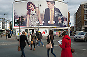 Large advertising hoarding for H&M in Shoreditch, London, a run-down commercial district  also known as Silicon Roundabout, which is undergoing gentrification as it becomes a centre for web-based companies and IT start-ups.