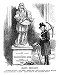 "Happy Thought. The Bishop of London. ""Ah, Wren! Great Man! What can we do to honour his bi-centenary? I know. Knock some of his churches down!"" (Arthur Winnington Ingram stands by a bust of Sir Christopher Wren with a pick axe and hammer)"