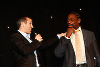 Photo: Richard Lane/Richard Lane Photography. .Serge Betsen Testimonial Dinner at the Hilton on Park Lane. 25/02/2011. Serge Betsen , Thomas Castaignede.