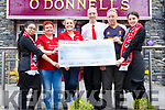The Kerry Liverpool Supporters Club present a cheque for €1000:00 to Irish Heart Foundation in O'Donnell's Bar Mounthawk on Saturday, from a fundraiser on the night of the Champions League Final.<br /> L to r: Sophie Byrne, Helen Moriarty, Anne Riordan (Irish Heart Foundation), Ross Ahern, Leo and Clodagh Byrne.