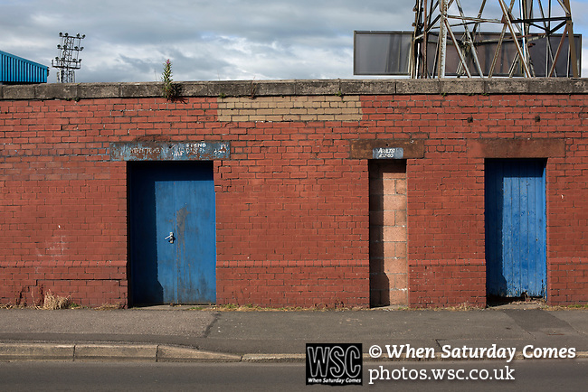 Queen of the South 2 Stranraer 0, 11/08/2015. Scottish Challenge Cup first round, Palmerston Park. Closed turnstiles at the Terregles Street end at Palmerston Park, Dumfries, after Queen of the South hosted Stranraer in a Scottish Challenge Cup first round match. The game was the opening match of the season in a competition open to sides below the Scottish Premiership. Queen of the South won the match 2-0, watched by a crowd of 1229 spectators. Photo by Colin McPherson.