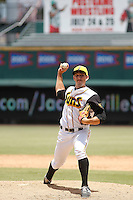Jacksonville Suns pitcher Casey McCarthy (33) on the mound during a game against the Tennessee Smokies at Bragan Field on the Baseball Grounds of Jacksonville on June 13, 2015 in Jacksonville, Florida.  Tennessee defeated Jacksonville 12-3. (Robert Gurganus/Four Seam Images)