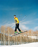 USA, Utah, male skier doing a helicopter in a terrain park, Park City Ski Resort